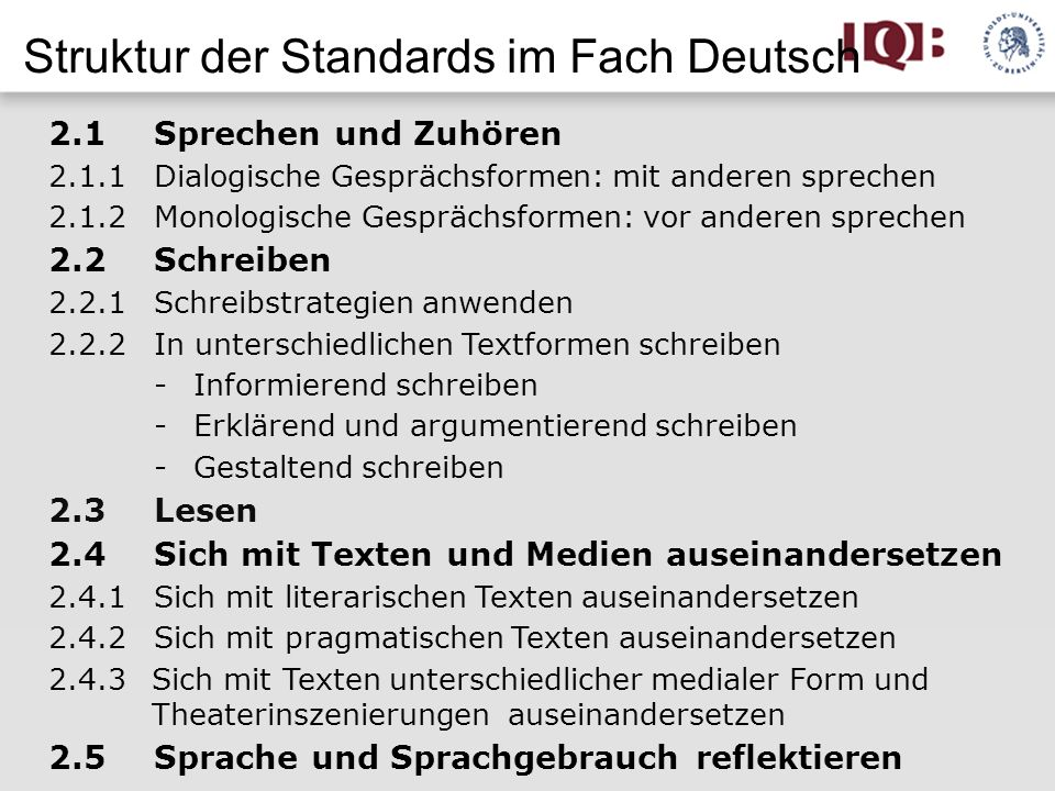 Struktur der Standards im Fach Deutsch