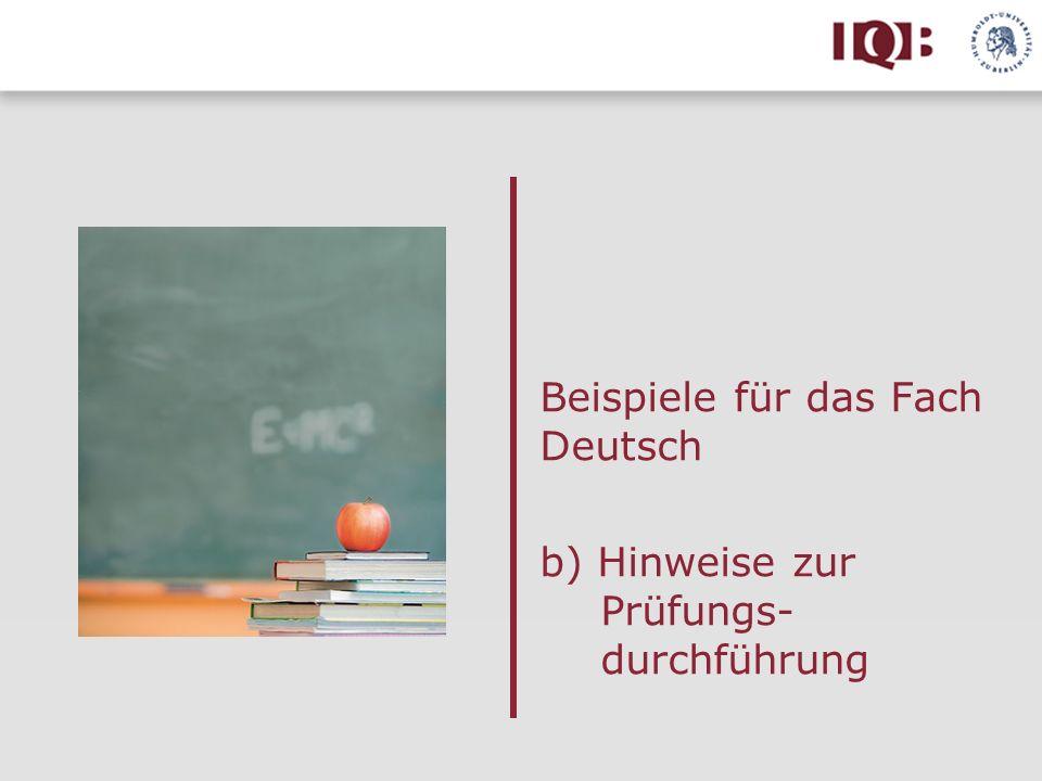 Beispiele für das Fach Deutsch