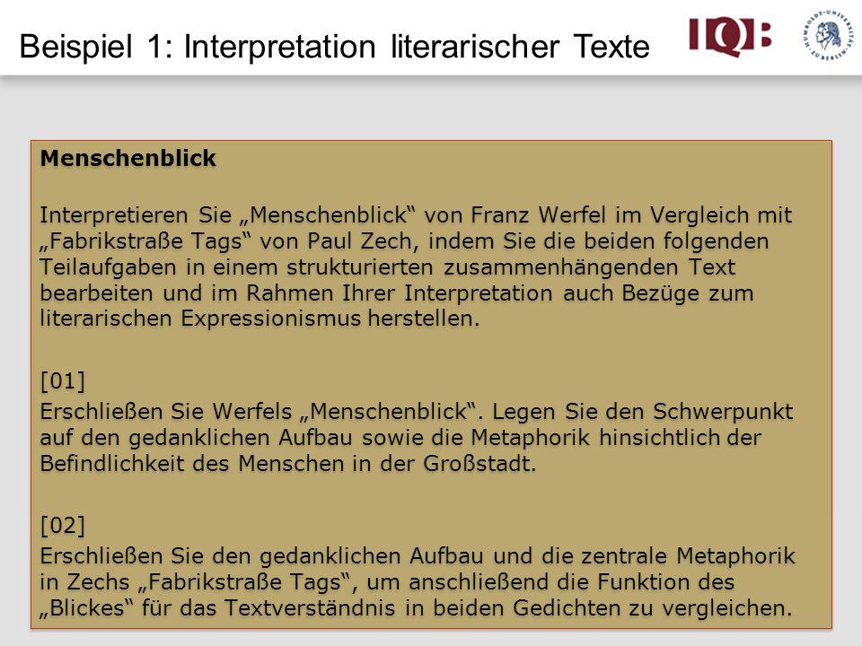 Beispiel 1: Interpretation literarischer Texte
