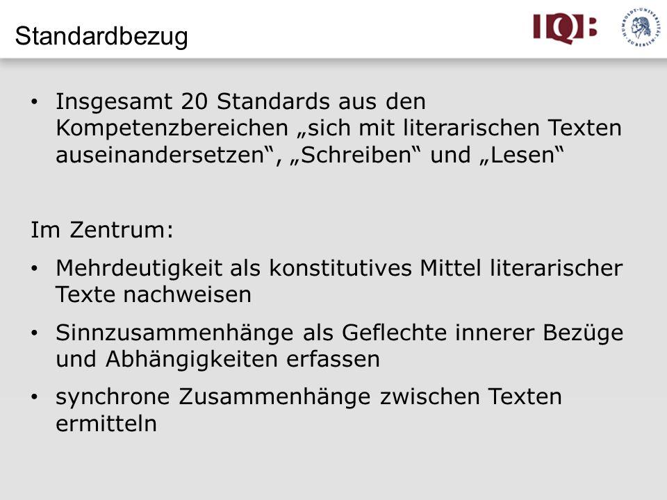 """Standardbezug Insgesamt 20 Standards aus den Kompetenzbereichen """"sich mit literarischen Texten auseinandersetzen , """"Schreiben und """"Lesen"""