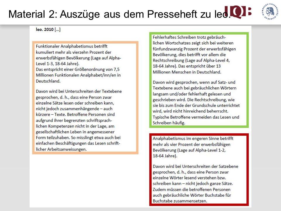 Material 2: Auszüge aus dem Presseheft zu leo.