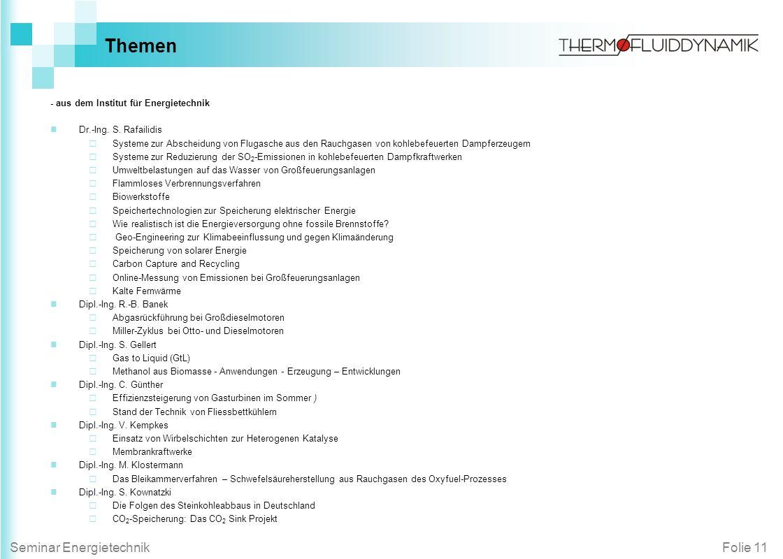 Themen - aus dem Institut für Energietechnik Dr.-Ing. S. Rafailidis