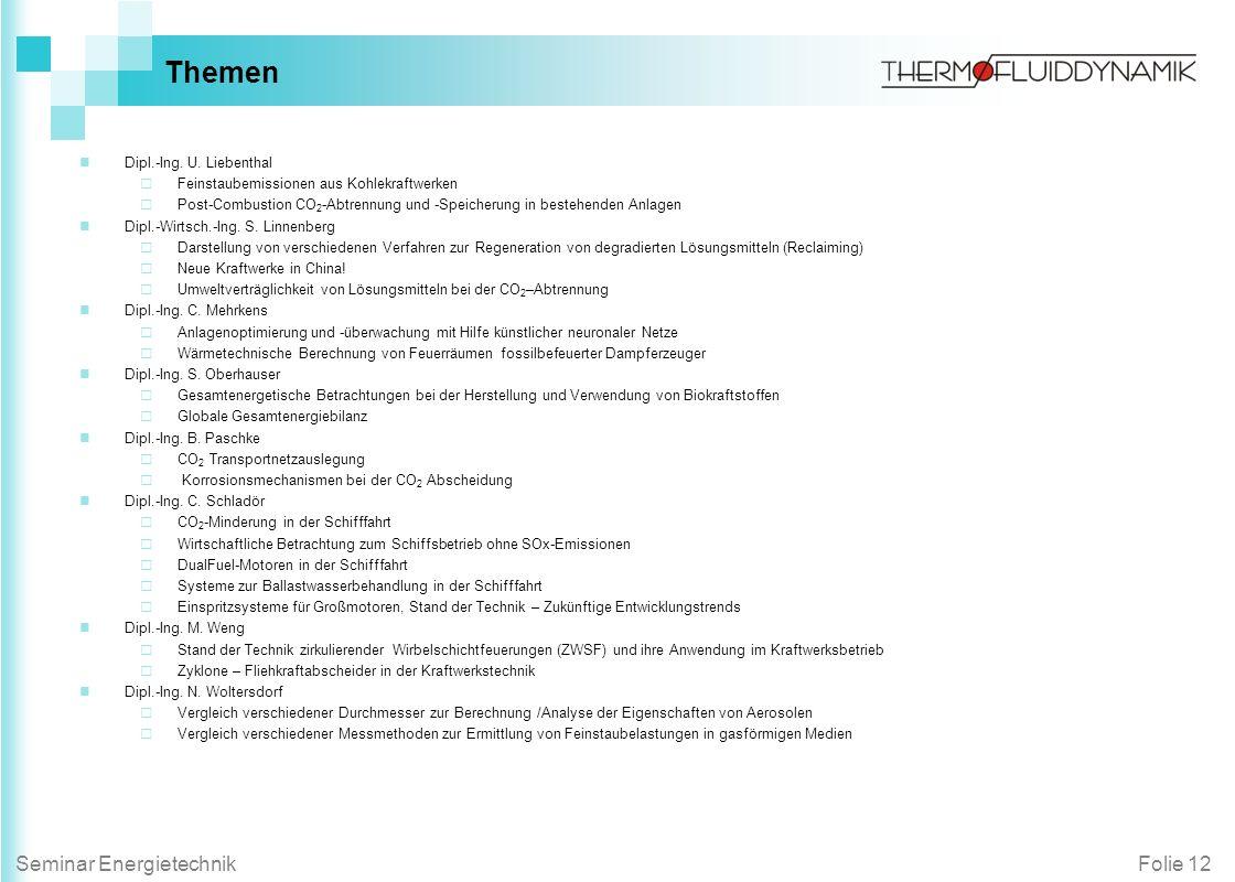 Themen Dipl.-Ing. U. Liebenthal