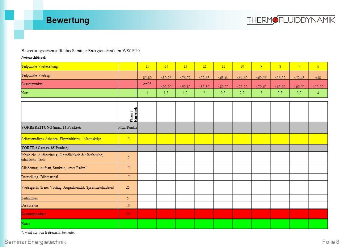 Bewertung Bewertungsschema für das Seminar Energietechnik im WS09/10