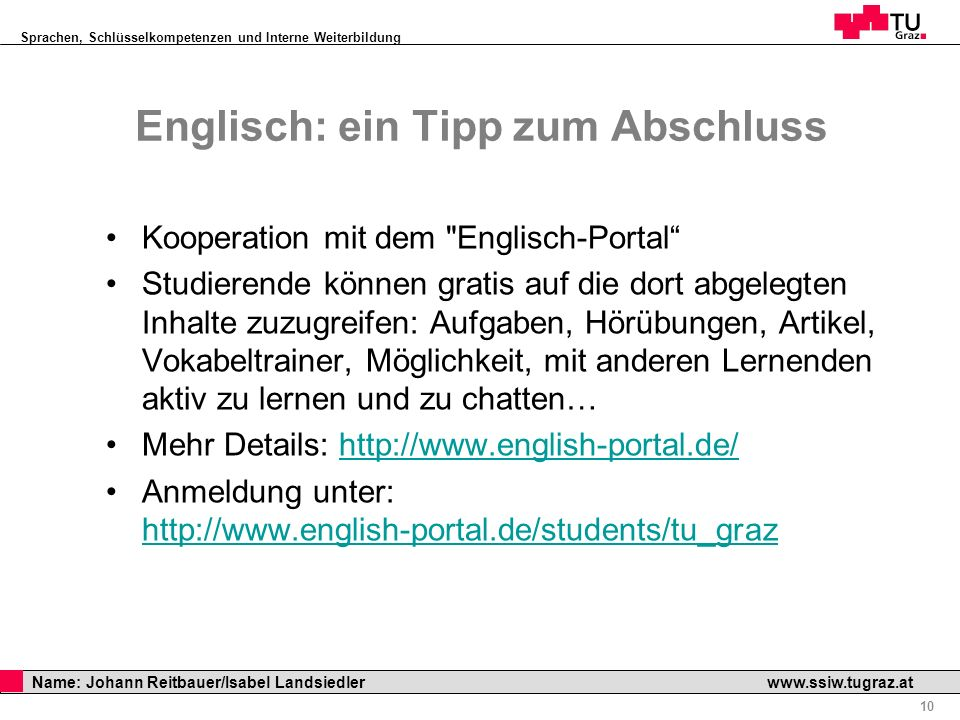 Englisch: ein Tipp zum Abschluss