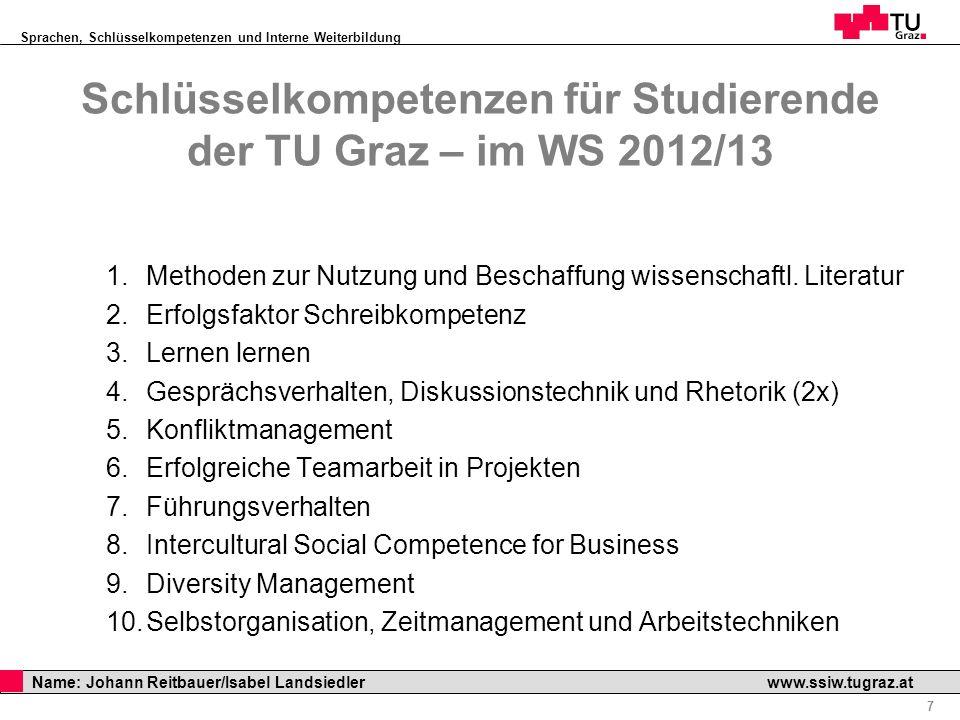 Schlüsselkompetenzen für Studierende der TU Graz – im WS 2012/13