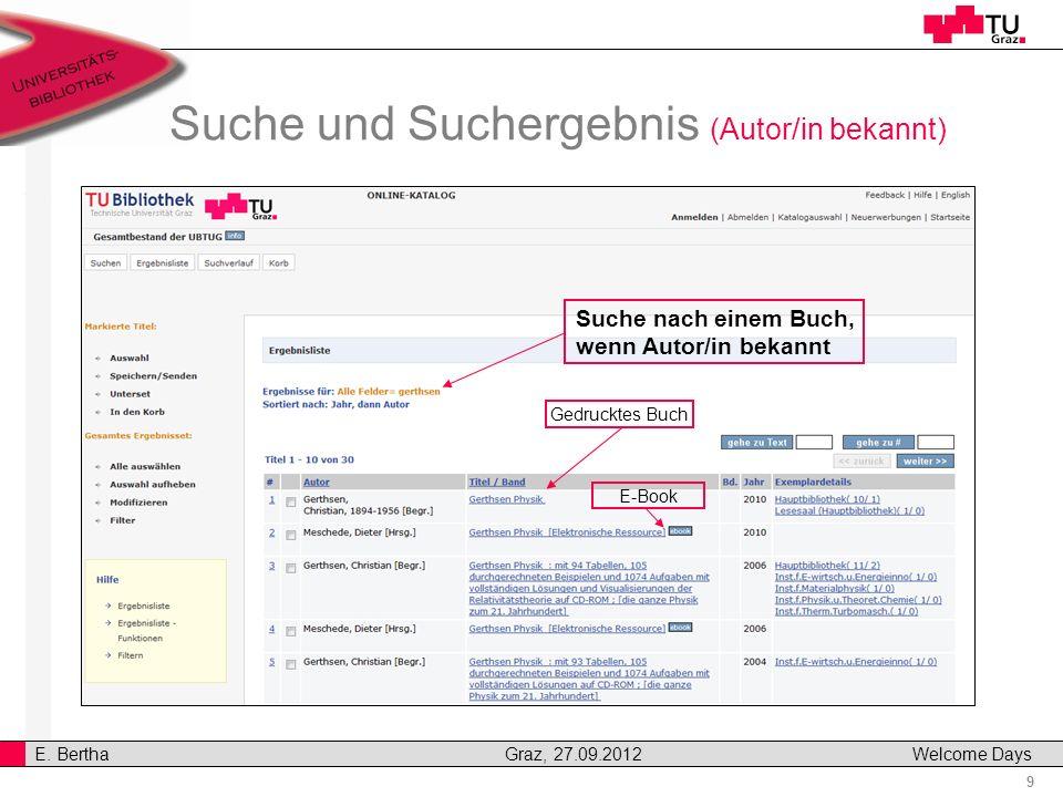 Suche und Suchergebnis (Autor/in bekannt)