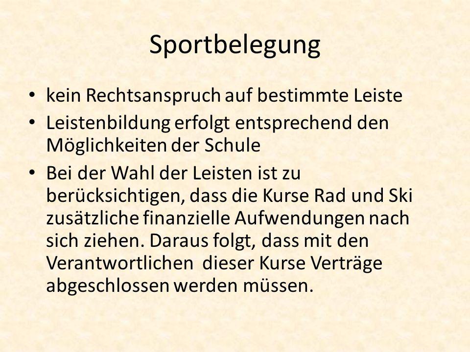 Sportbelegung kein Rechtsanspruch auf bestimmte Leiste