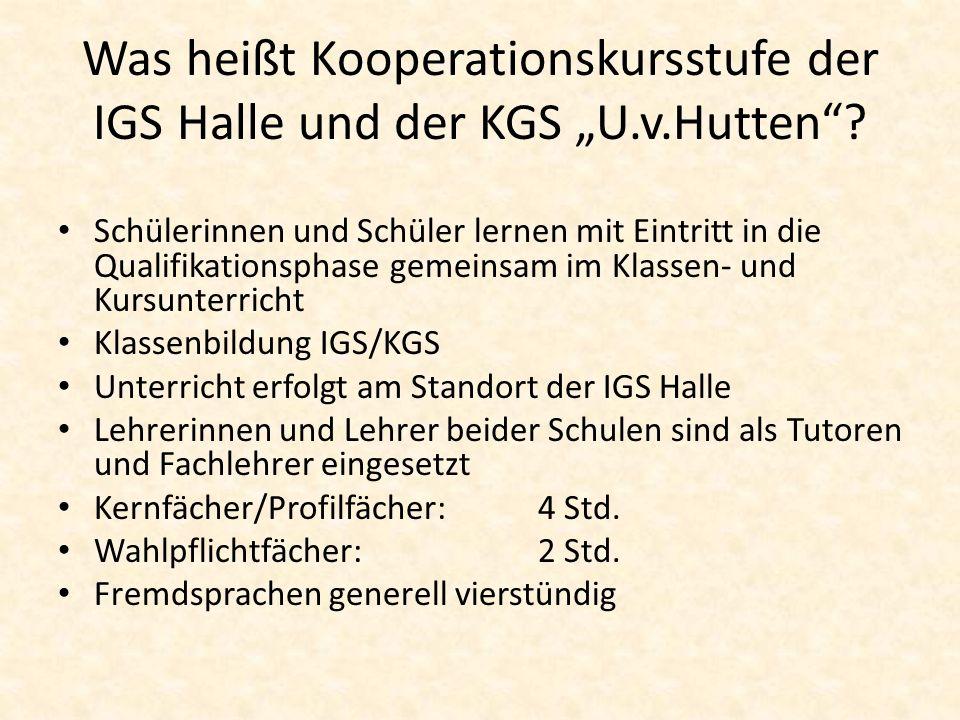 """Was heißt Kooperationskursstufe der IGS Halle und der KGS """"U. v"""