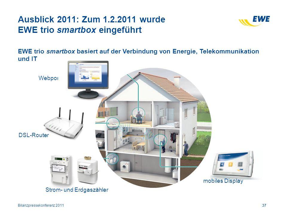Ausblick 2011: Zum 1.2.2011 wurde EWE trio smartbox eingeführt
