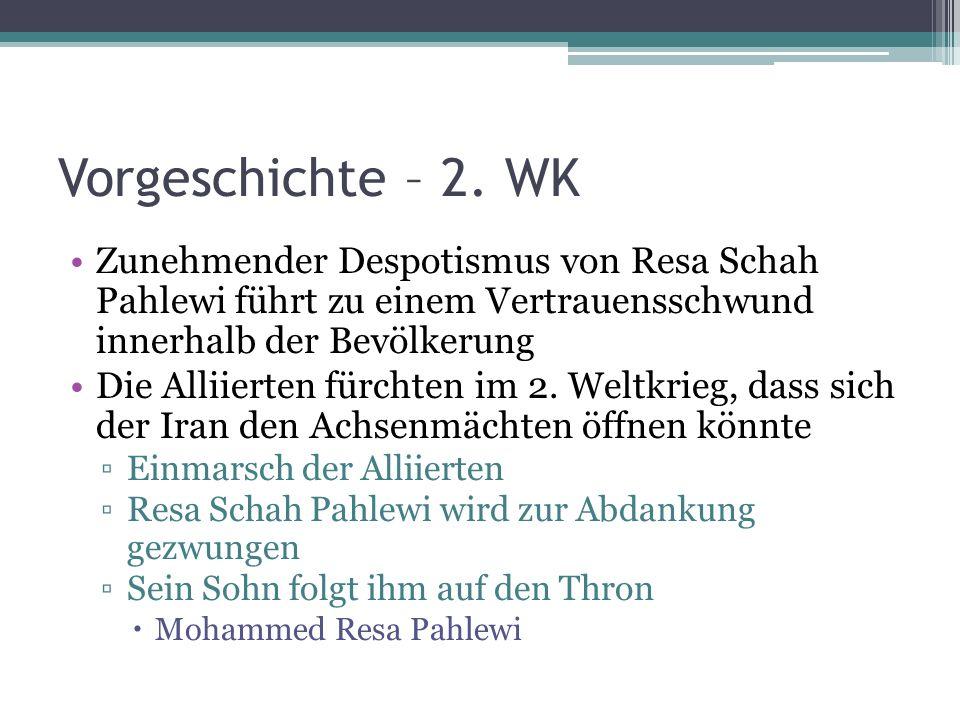 Vorgeschichte – 2. WK Zunehmender Despotismus von Resa Schah Pahlewi führt zu einem Vertrauensschwund innerhalb der Bevölkerung.