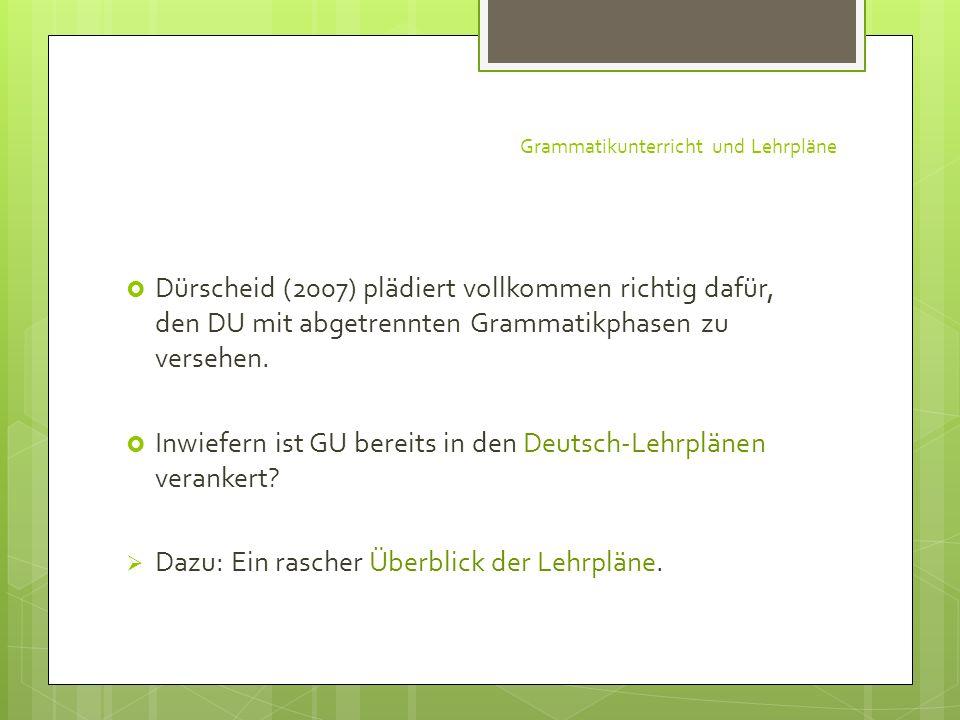 Grammatikunterricht und Lehrpläne
