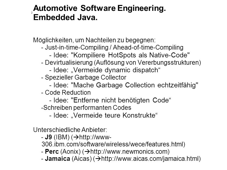 Automotive Software Engineering. Embedded Java.