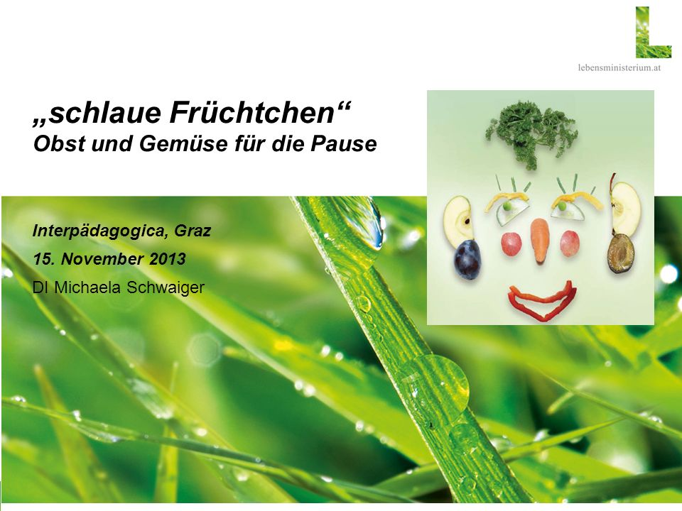 """""""schlaue Früchtchen Obst und Gemüse für die Pause Interpädagogica, Graz 15."""