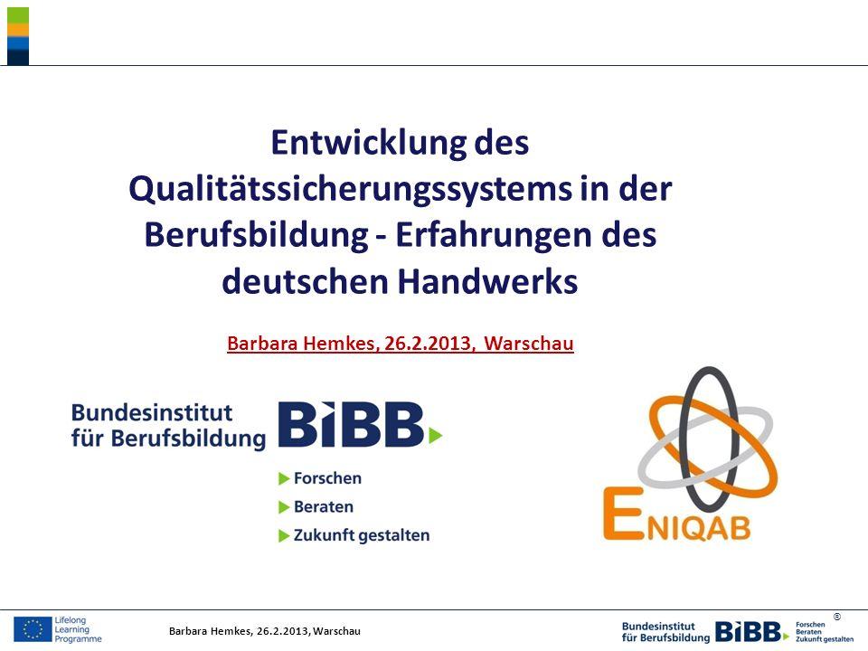 Entwicklung des Qualitätssicherungssystems in der Berufsbildung - Erfahrungen des deutschen Handwerks