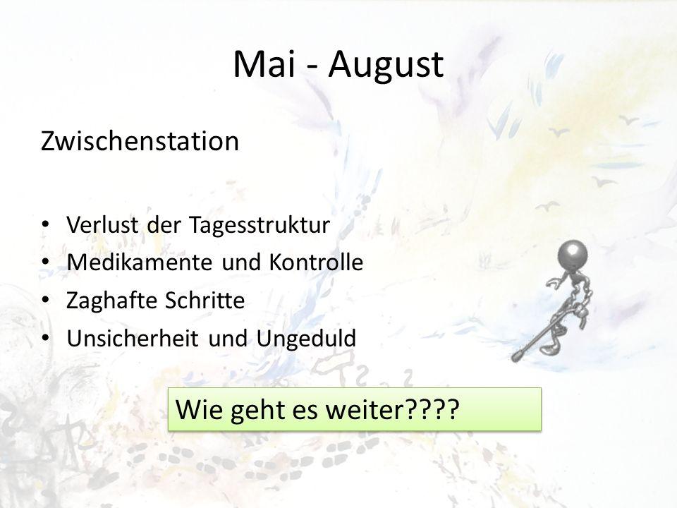 Mai - August Zwischenstation Wie geht es weiter
