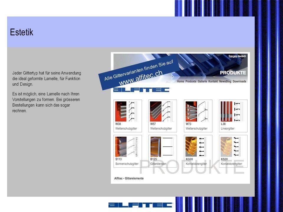 Alle Gittervarianten finden Sie auf www.alfitec.ch