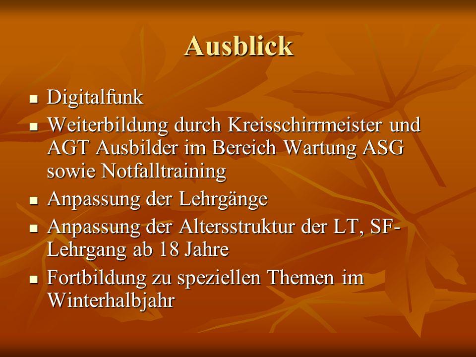 AusblickDigitalfunk. Weiterbildung durch Kreisschirrmeister und AGT Ausbilder im Bereich Wartung ASG sowie Notfalltraining.