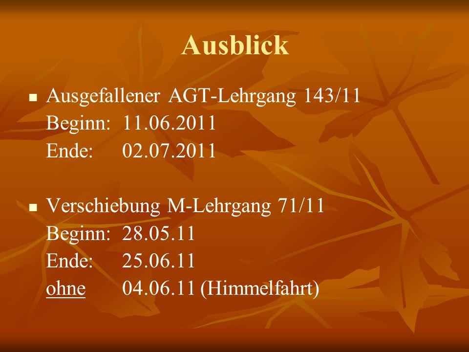 Ausblick Ausgefallener AGT-Lehrgang 143/11 Beginn: 11.06.2011