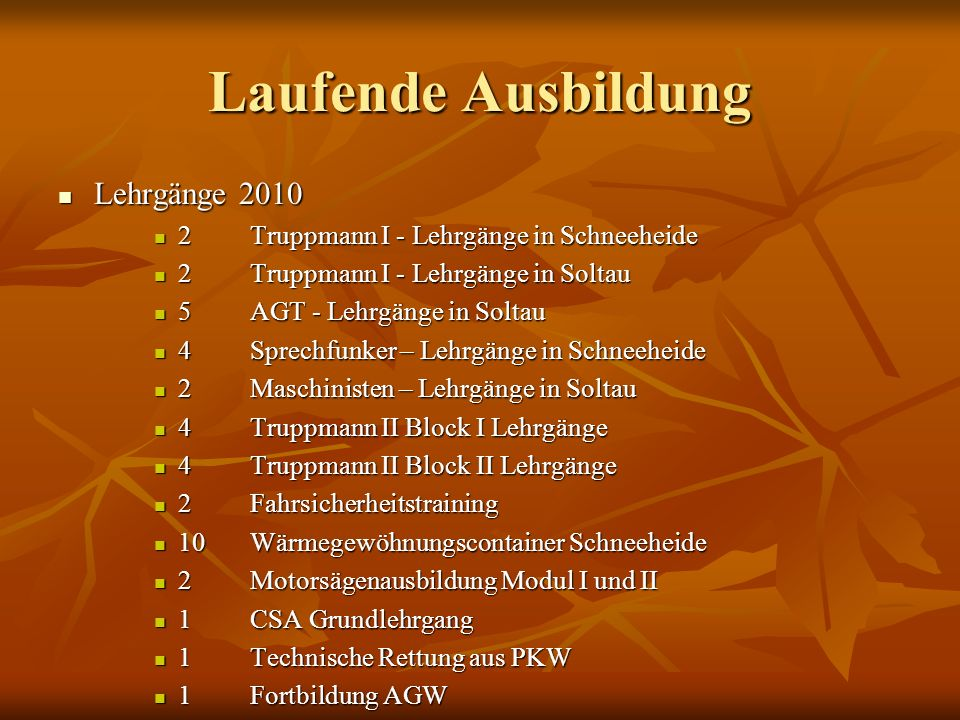 Laufende Ausbildung Lehrgänge 2010