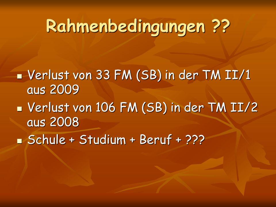 Rahmenbedingungen Verlust von 33 FM (SB) in der TM II/1 aus 2009