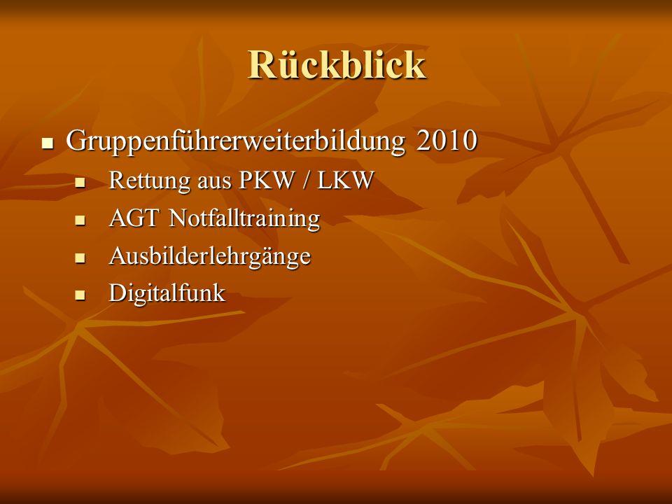 Rückblick Gruppenführerweiterbildung 2010 Rettung aus PKW / LKW