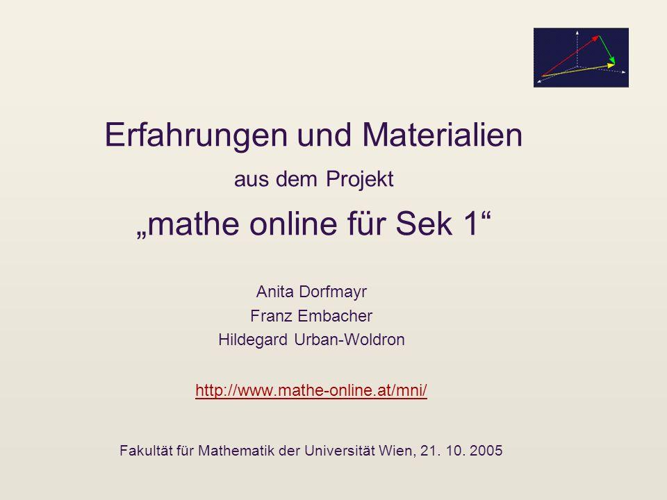 """Erfahrungen und Materialien aus dem Projekt """"mathe online für Sek 1"""