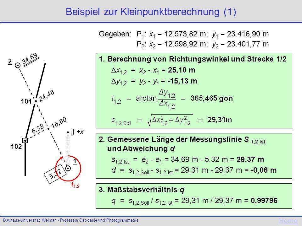 Beispiel zur Kleinpunktberechnung (1)