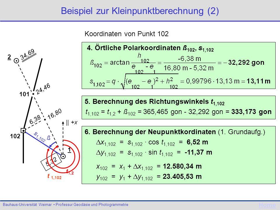 Beispiel zur Kleinpunktberechnung (2)
