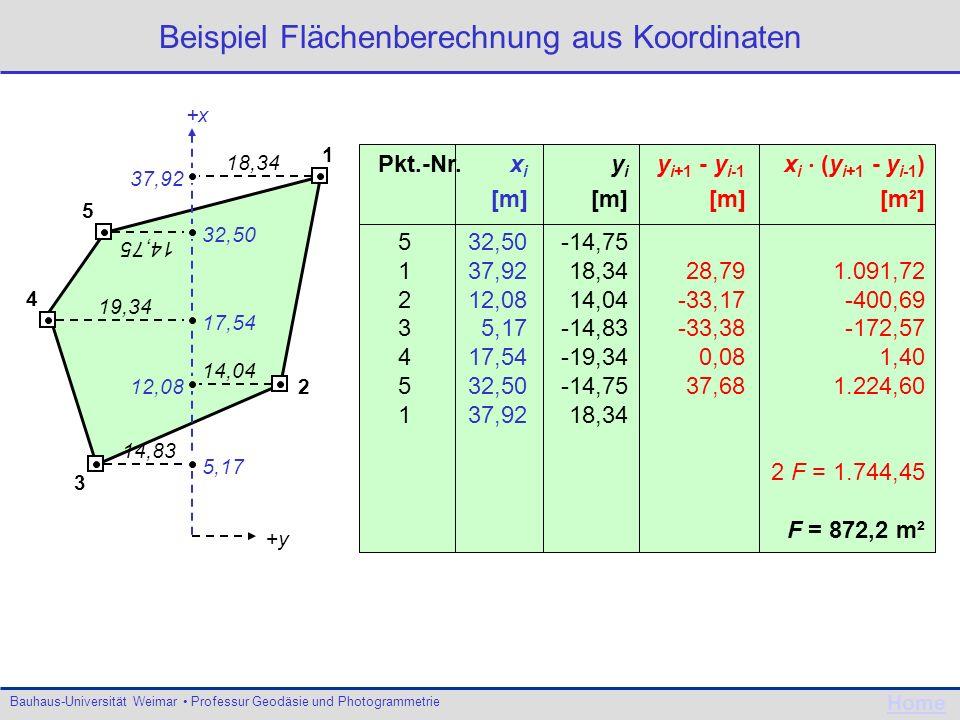 Beispiel Flächenberechnung aus Koordinaten