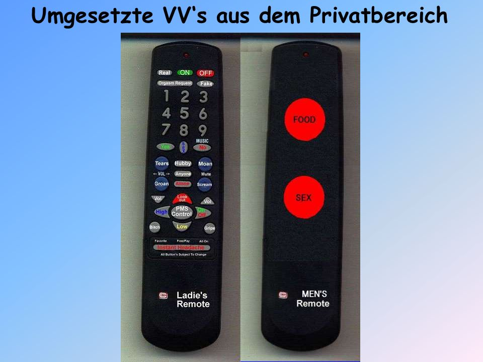 Umgesetzte VV's aus dem Privatbereich