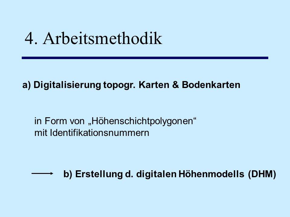 4. Arbeitsmethodik a) Digitalisierung topogr. Karten & Bodenkarten