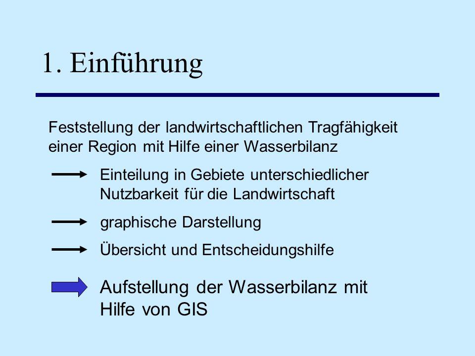 1. Einführung Aufstellung der Wasserbilanz mit Hilfe von GIS