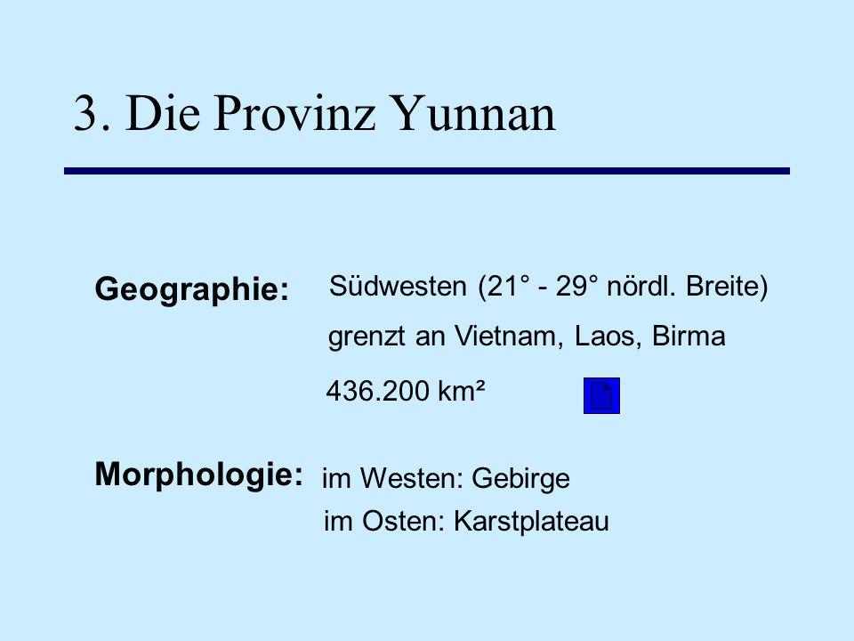 3. Die Provinz Yunnan Geographie: Morphologie: