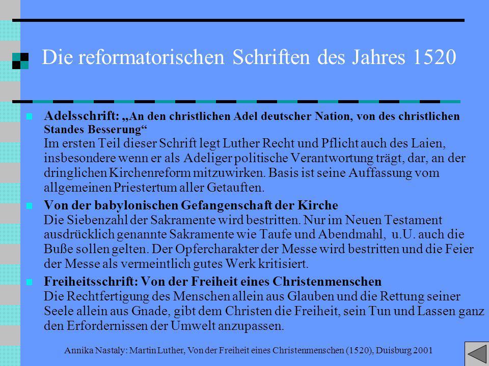 Die reformatorischen Schriften des Jahres 1520