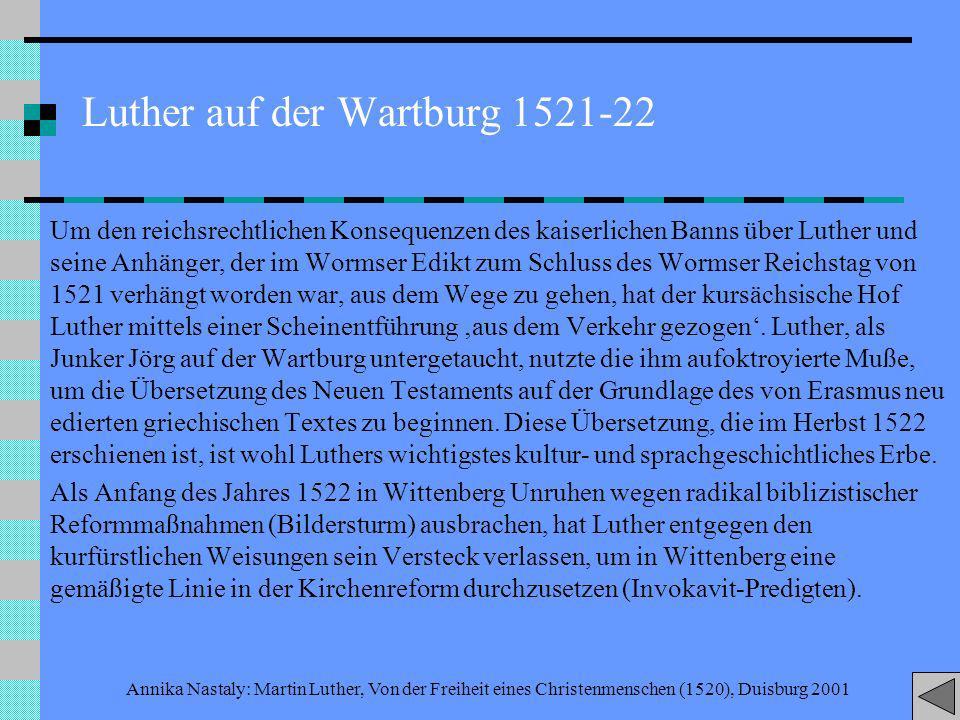 Luther auf der Wartburg 1521-22