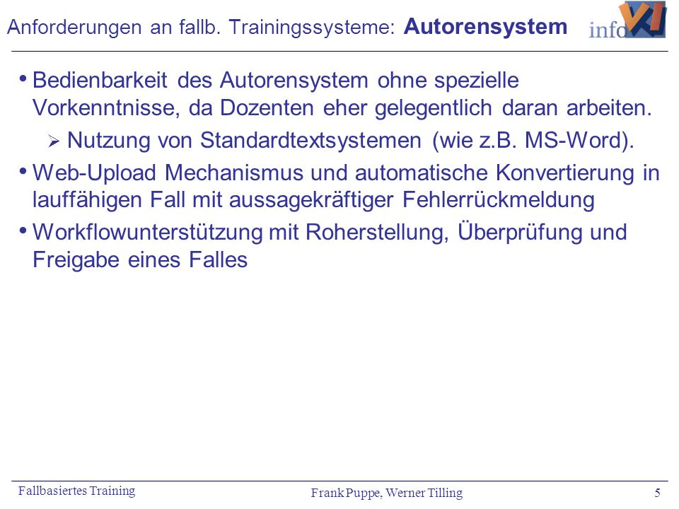 Anforderungen an fallb. Trainingssysteme: Autorensystem