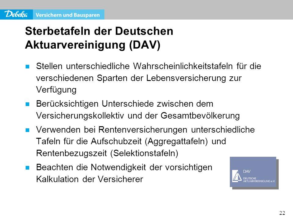 Sterbetafeln der Deutschen Aktuarvereinigung (DAV)