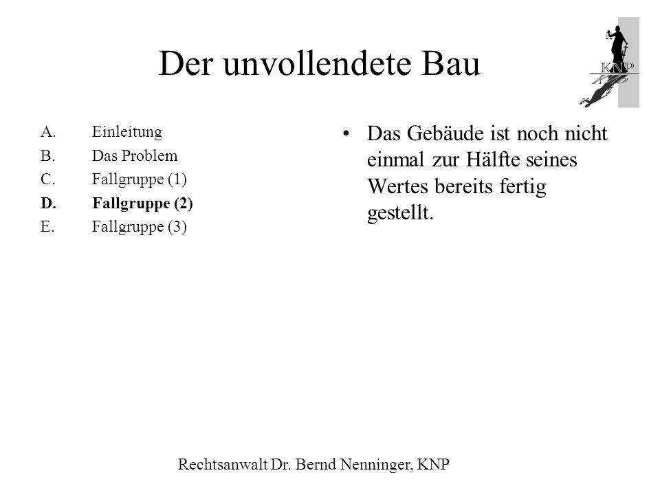 Der unvollendete BauEinleitung. B. Das Problem. C. Fallgruppe (1) D. Fallgruppe (2) E. Fallgruppe (3)