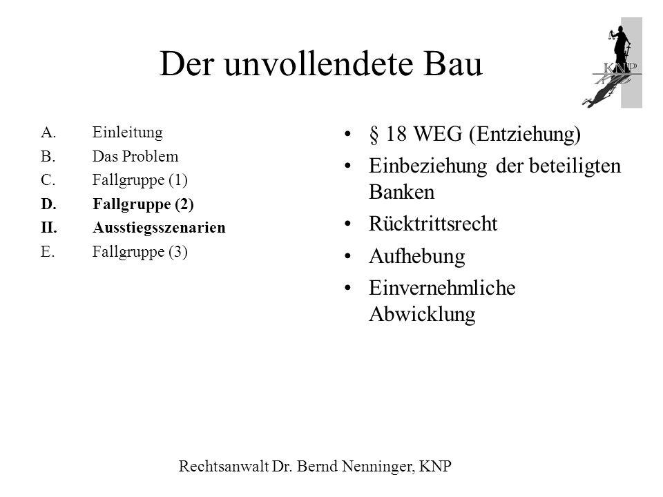 Der unvollendete Bau § 18 WEG (Entziehung)