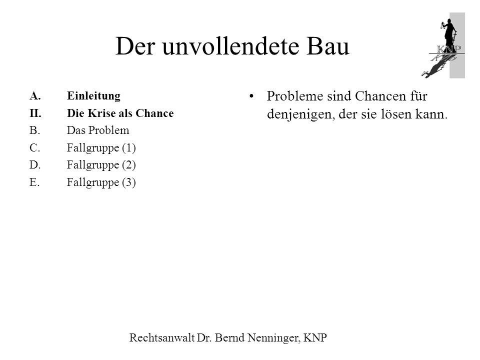 Der unvollendete Bau Einleitung. Die Krise als Chance. B. Das Problem. Fallgruppe (1) Fallgruppe (2)