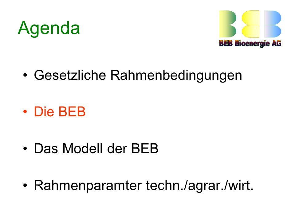 Agenda Gesetzliche Rahmenbedingungen Die BEB Das Modell der BEB