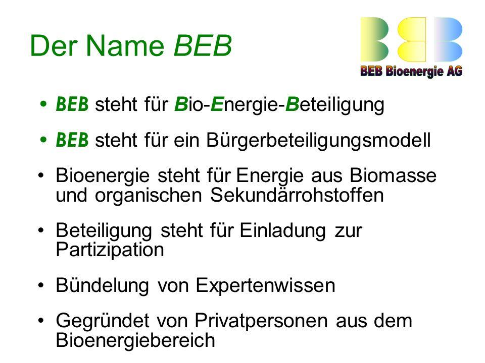 Der Name BEB BEB steht für Bio-Energie-Beteiligung