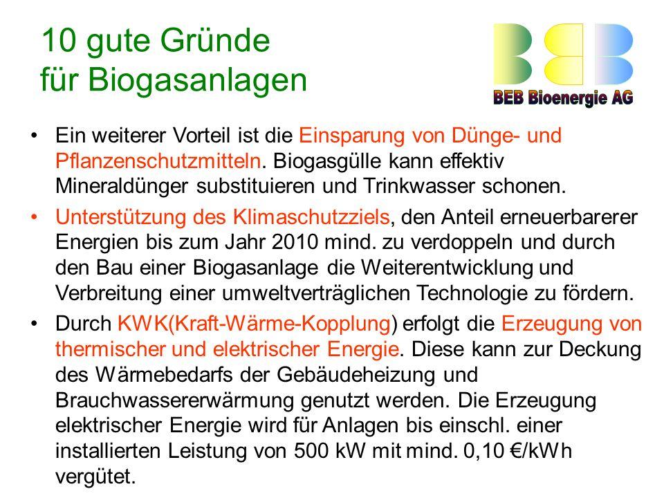 10 gute Gründe für Biogasanlagen