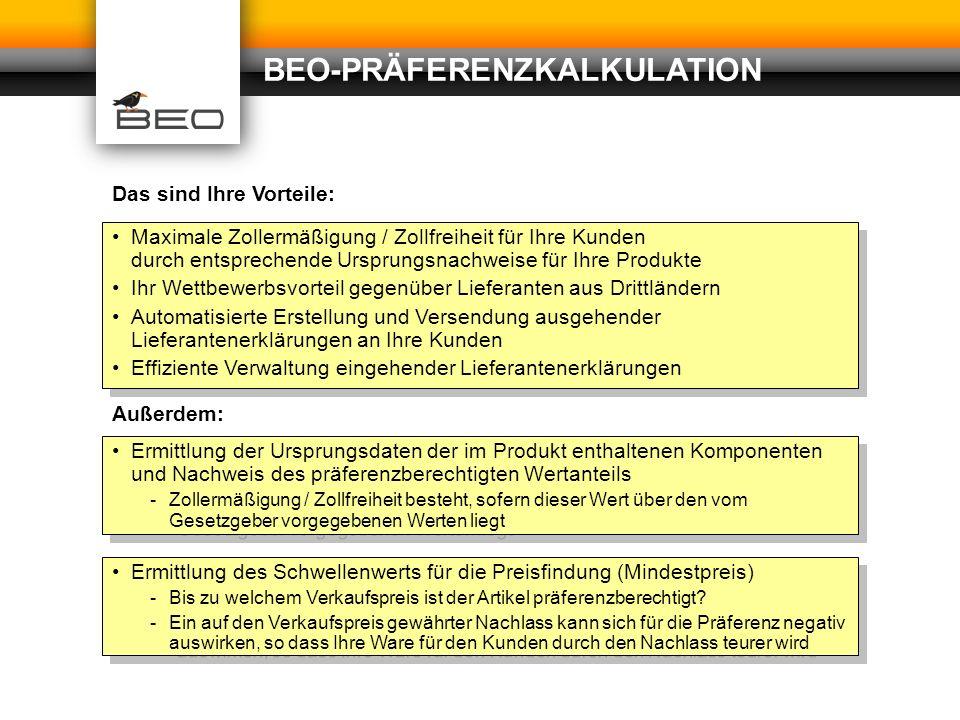 BEO-PRÄFERENZKALKULATION