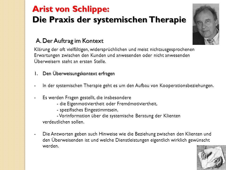 Arist von Schlippe: Die Praxis der systemischen Therapie