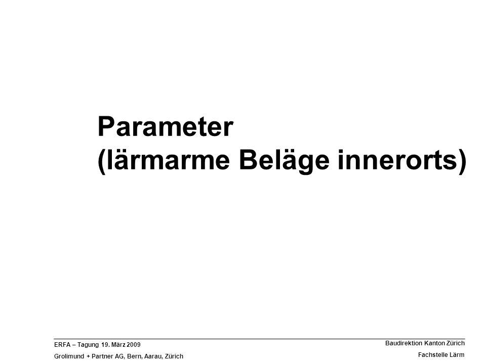 Parameter (lärmarme Beläge innerorts)