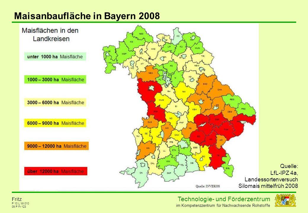 Maisanbaufläche in Bayern 2008