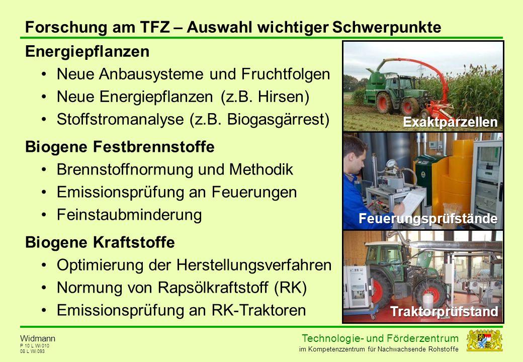 Forschung am TFZ – Auswahl wichtiger Schwerpunkte Energiepflanzen