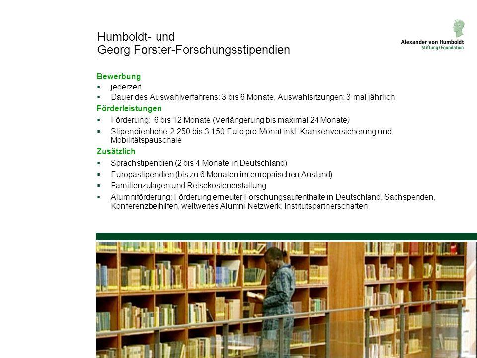 Humboldt- und Georg Forster-Forschungsstipendien